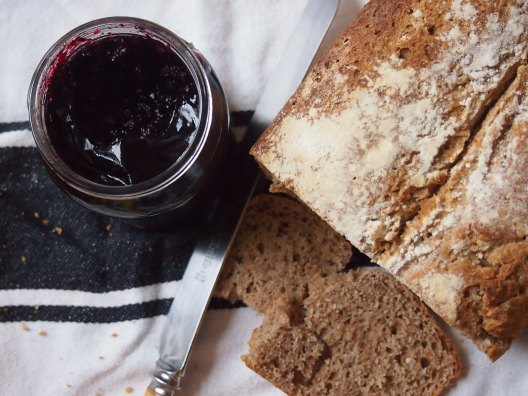 served with homemade blackcurrant jam