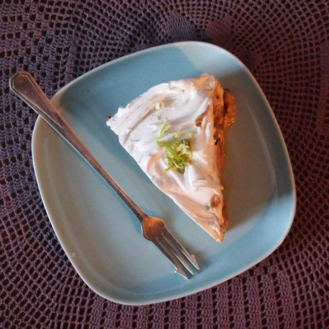 a slice of vegan banoffee pie... garnished with zest of lime...